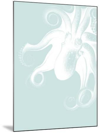 White Octopus on Seafoam f-Fab Funky-Mounted Art Print