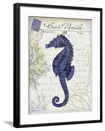 Seaside Postcard Cream b-Fab Funky-Framed Art Print