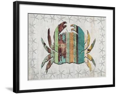 Distressed Wood Style Crab 1-Fab Funky-Framed Art Print