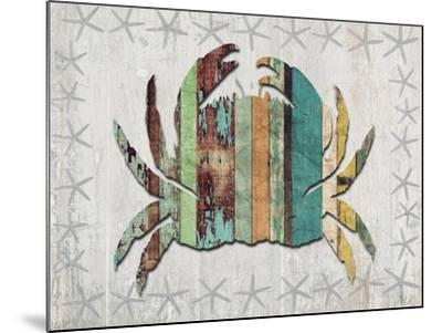 Distressed Wood Style Crab 1-Fab Funky-Mounted Art Print