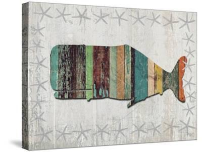 Distressed Wood Style Whale 1-Fab Funky-Stretched Canvas Print