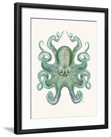 Turquoise Octopus and Squid a-Fab Funky-Framed Art Print
