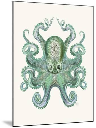 Turquoise Octopus and Squid a-Fab Funky-Mounted Art Print