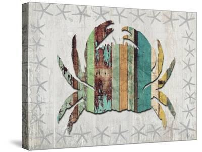 Distressed Wood Style Crab 1-Fab Funky-Stretched Canvas Print