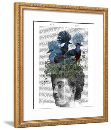 Woman with Blue Birds On Head-Fab Funky-Framed Art Print