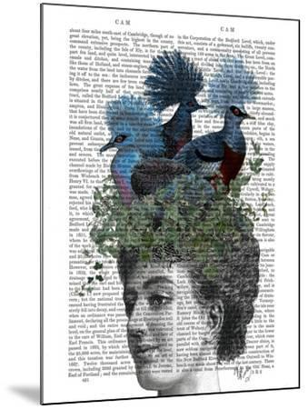 Woman with Blue Birds On Head-Fab Funky-Mounted Art Print