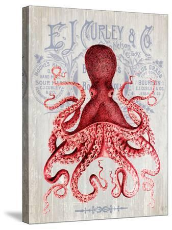 Octopus Prohibition Octopus On White-Fab Funky-Stretched Canvas Print