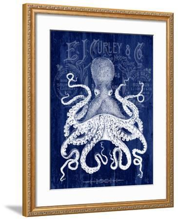 Octopus Prohibition Octopus On Blue-Fab Funky-Framed Art Print