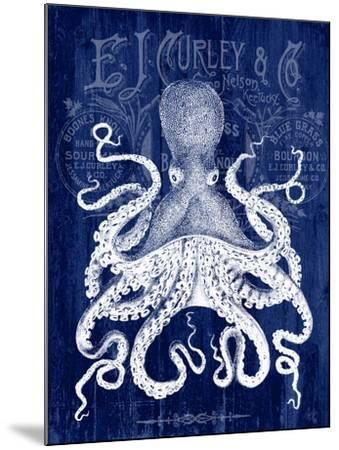 Octopus Prohibition Octopus On Blue-Fab Funky-Mounted Art Print
