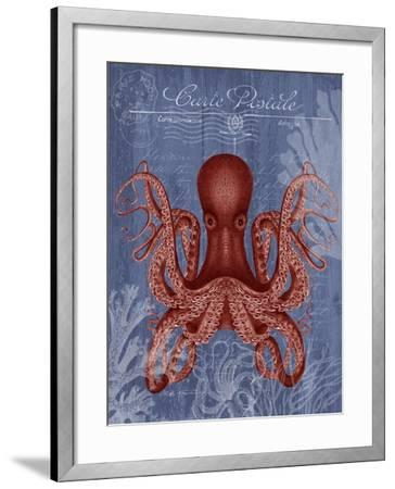 Seaside Postcard Red on Blue c-Fab Funky-Framed Art Print