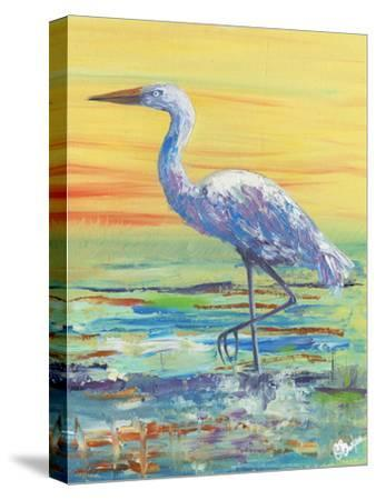 Egret Sunset II-Olivia Brewington-Stretched Canvas Print