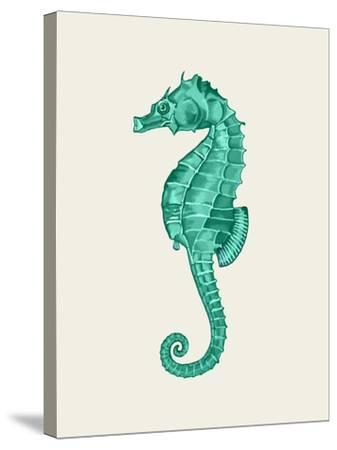 Seahorse in Green-Fab Funky-Stretched Canvas Print