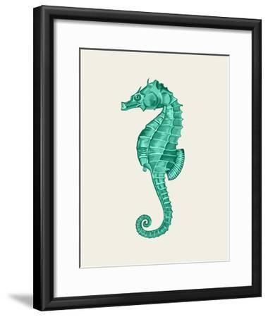 Seahorse in Green-Fab Funky-Framed Art Print