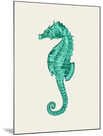 Seahorse in Green-Fab Funky-Mounted Art Print