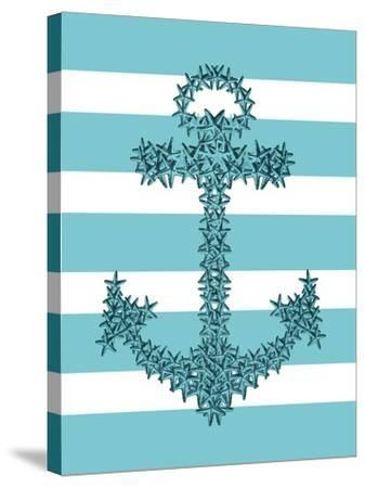 Starfish Anchor in Turquoise and White-Fab Funky-Stretched Canvas Print