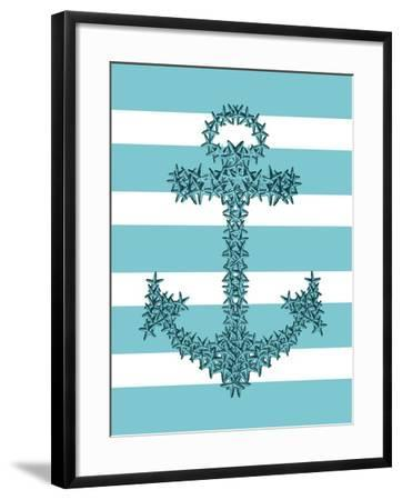 Starfish Anchor in Turquoise and White-Fab Funky-Framed Art Print