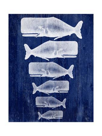 Whale Family White On Blue-Fab Funky-Framed Art Print
