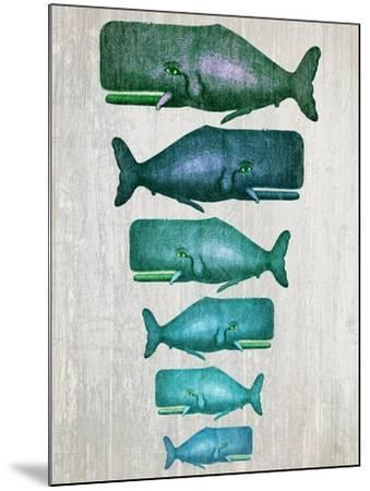 Whale Family Green on White-Fab Funky-Mounted Art Print