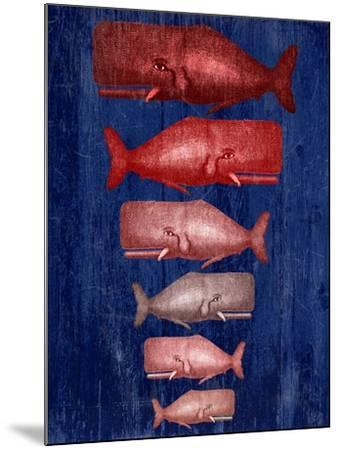 Whale Family Red On Blue-Fab Funky-Mounted Art Print