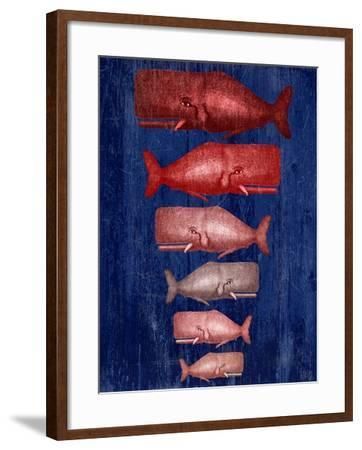 Whale Family Red On Blue-Fab Funky-Framed Art Print