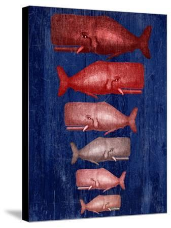 Whale Family Red On Blue-Fab Funky-Stretched Canvas Print