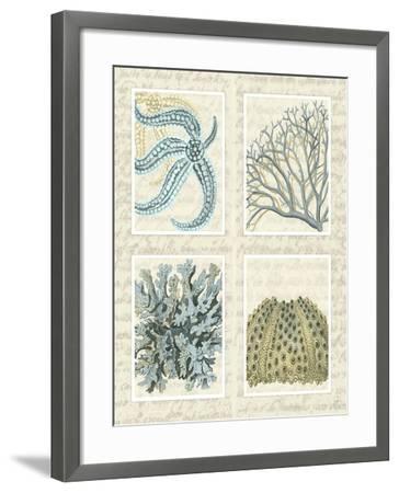 Blue Corals On Vintage Script in 4 Panels-Fab Funky-Framed Art Print