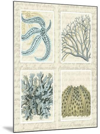 Blue Corals On Vintage Script in 4 Panels-Fab Funky-Mounted Art Print