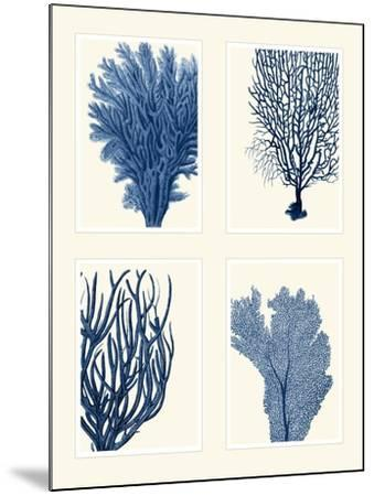 Blue Coral Print on 4 Panels-Fab Funky-Mounted Art Print