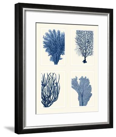 Blue Coral Print on 4 Panels-Fab Funky-Framed Art Print