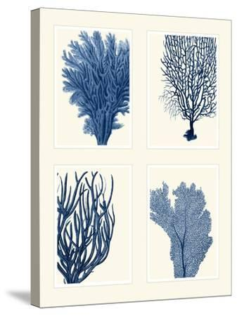 Blue Coral Print on 4 Panels-Fab Funky-Stretched Canvas Print