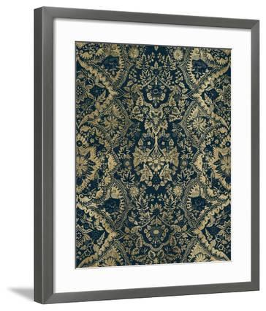 Baroque Tapestry in Aged Indigo II-Vision Studio-Framed Art Print