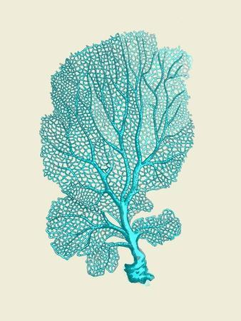 Corals Turquoise On Cream c-Fab Funky-Framed Art Print