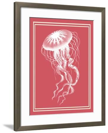 Mixed Nautical White on Coral b-Fab Funky-Framed Art Print