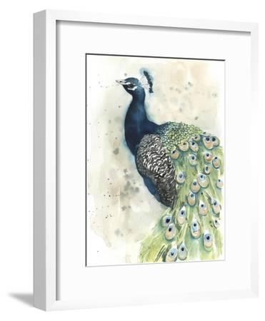 Watercolor Peacock Portrait II-Grace Popp-Framed Premium Giclee Print