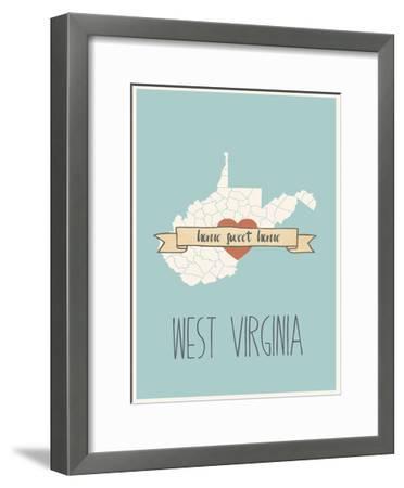 West-Virginia State Map, Home Sweet Home-Lila Fe-Framed Art Print