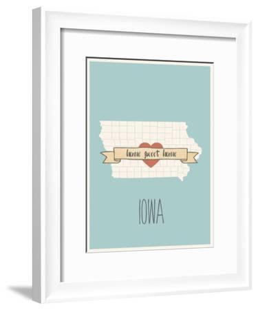 Iowa State Map, Home Sweet Home-Lila Fe-Framed Art Print