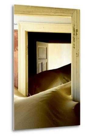 Abandoned House Full of Sand. Kolmanskop Ghost Town, Namib Desert Namibia, October 2013-Enrique Lopez-Tapia-Metal Print
