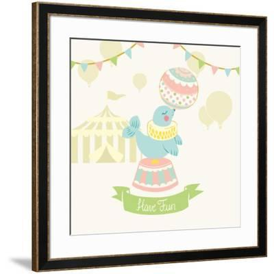 Little Circus Seal Pastel-Cleonique Hilsaca-Framed Art Print
