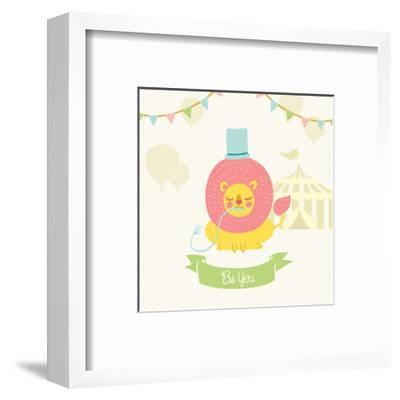 Little Circus Lion Pastel-Cleonique Hilsaca-Framed Art Print