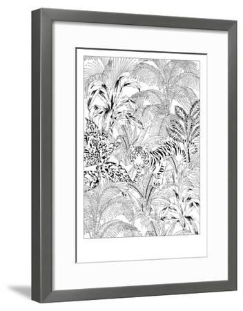 Tiger Black and White-Jacqueline Colley-Framed Giclee Print