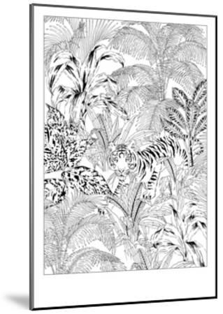 Tiger Black and White-Jacqueline Colley-Mounted Giclee Print