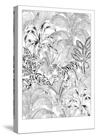 Tiger Black and White-Jacqueline Colley-Stretched Canvas Print