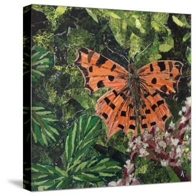 Flutter - Comma Butterfly on Japonica-Kirstie Adamson-Stretched Canvas Print