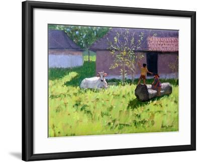 White Cow and Two Children,Mankotta Island, Kerala, India-Andrew Macara-Framed Giclee Print