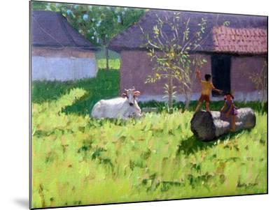 White Cow and Two Children,Mankotta Island, Kerala, India-Andrew Macara-Mounted Giclee Print