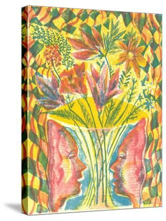 Faces and Flowers-Mary Kuper-Stretched Canvas Print