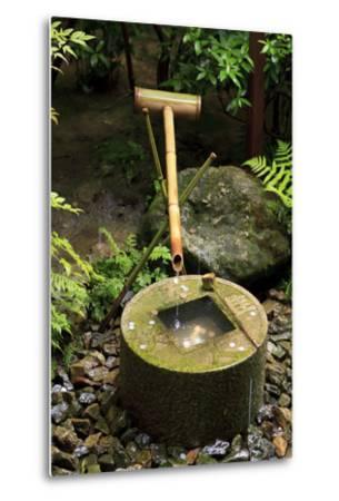 A Stone Water Basin in the Grounds of Ryoan-Ji Temple, Kyoto, Japan-Paul Dymond-Metal Print