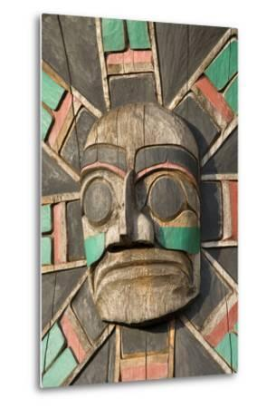 Canada, British Columbia, Vancouver Island. Raven Above Sea Serpent with Wolf and Macquinna Mask-Kevin Oke-Metal Print