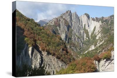 Azerbaijan, Sheki. A Rocky Cliffside Outside of Sheki-Alida Latham-Stretched Canvas Print