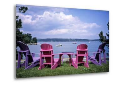 Canada, Nova Scotia, Mahone Bay, Colorful Adirondack Chairs Overlook the Calm Bay-Ann Collins-Metal Print